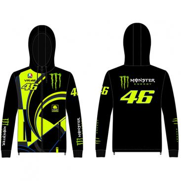VR46 FULL ZIP HOODIE REPLICA BLACK