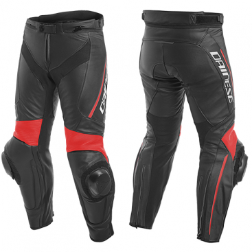 DAINESE  DELTA 3   LEATHER PANTS  P75 BLACK/BLACK/FLUO-RED