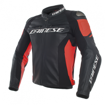 DAINESE RACING3 LEATHER JACKET P75 BLACK/BLACK/FLUO-RED